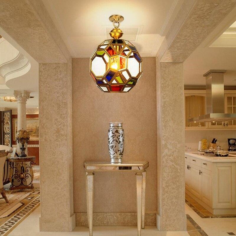 European Copper Originality Personality E27 LED Fixture Lamp American Balcony Aisle Entrance Glass Chandelier Lights