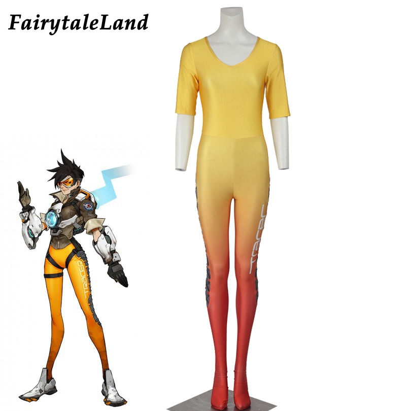 OW Lena Oxton Jumpsuit Halloween costumes for adult Unisex fancy Jumpsuit Yellow Lena Oxton Tracer cosplay Costume tracer lena oxton costume cosplay yellow suit game uniform female yellow version halloween christmas adult women custom made