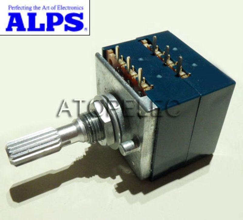 Japan ALPS Volume control 27 type Dual potentiometer 100K RK27 Round shaft PCB