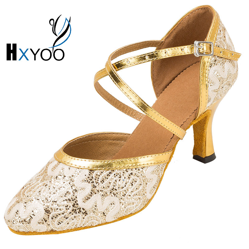 HXYOO New Arrival Lace Latin Salsa Dance Shoes Women Ballroom Tango Shoes 5 Kinds of Heels 4.5-8.5cm Comfortable Soft Sole WK049