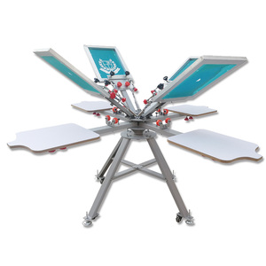 Image 2 - Free shipping Micro Registration 4 color 4 station manual silk screen printing machine for T shirt printer equipment carousel