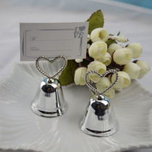 free shipping 12pc silver jingle bell christmas place card holder table numbers holder wedding decoration wedding