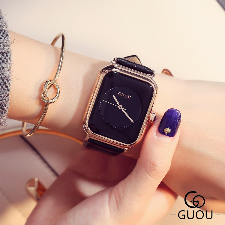 GUOU Top Brand Simple Fashion Watch Rectangle Dial Genuine Leather Watch Women Watches Clock saat relogio