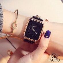 GUOU Top Brand Simple Reloj de Moda Rectángulo Marcado Reloj de Cuero Genuino de Las Mujeres Relojes relogio feminino montre femme Reloj saat