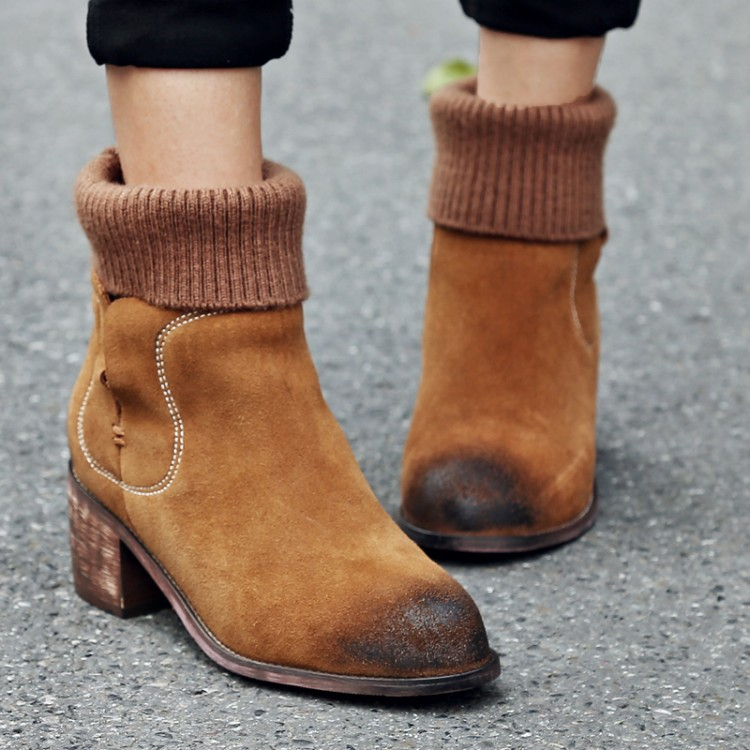 New Arrival Autumn Winter Women Suede Thick High-heeled Boots all-match Distressed Ankle Boots Martin Boots Tide