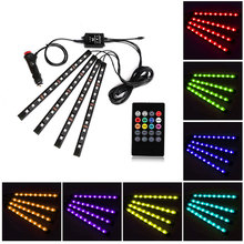 Car Sound Music Active Effect Light 8 Colors RGB LED Strip Lights Interior lamp Atmosphere Lighting Kit with Remote for Bar