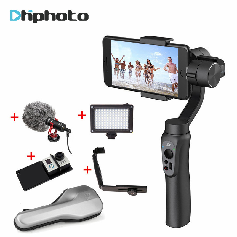 Zhiyun Smooth Q Handheld 3-Axis Gimbal Stabilizer App Control for Gopro 5 Action Camera for iPhone X 7 Plus Samsung smartphone zhiyun z1 rider m 3 axis wearable camera gimbal stabilizer app wireless remote control for gopro 3 4