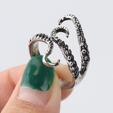 1PC Octopus Feeler Adjustable Rings for Womens Mens Personality Ring Squid Feeler Punk Vintage Fingers Party Jewelry(China)
