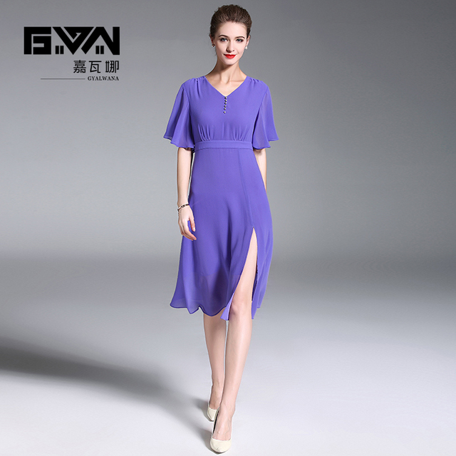 27725db05508 GYALWANA 2018 style, horn sleeve, high waist line, temperament V Collar Chiffon  dresses