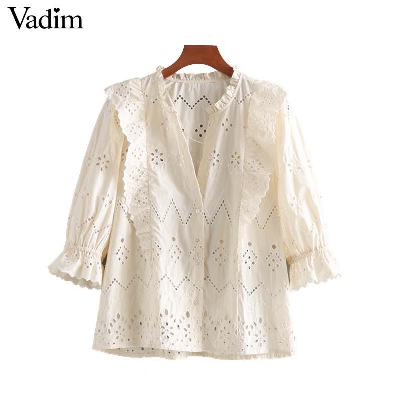 Vadim women sweet solid V neck ruffles blouse three quarter sleeve hollow out design female stylish cute chic tops blusas LB218