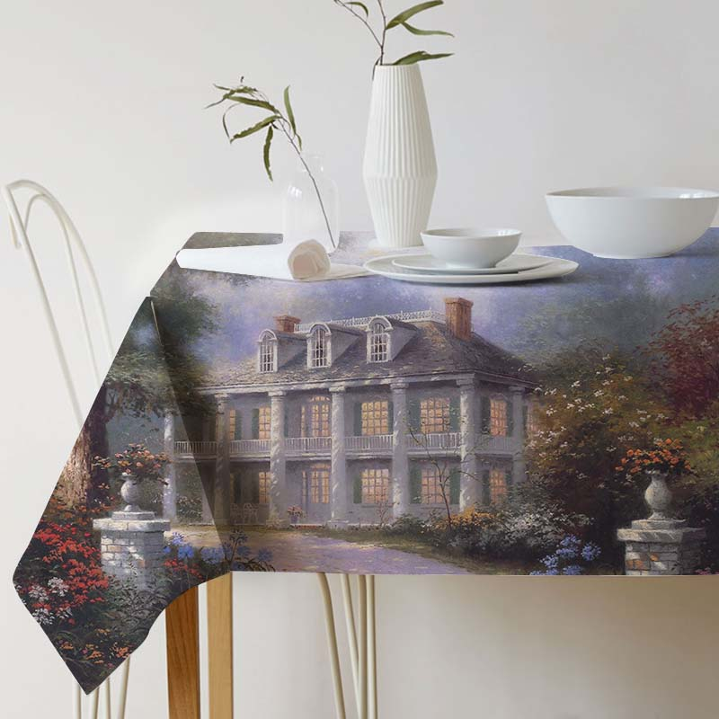 Pastoral Landscape tablecloth Thomas Kinkade Ink painting Tablecloth for table Home Protection and decoration Elegant Table cove