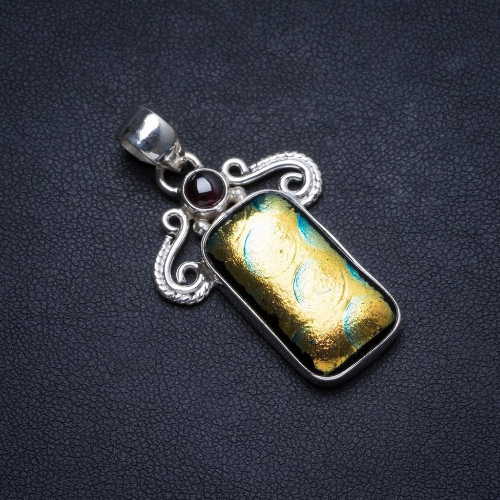 Verre dichroïque naturel fantaisie et améthyste fait à la main Unique 925 pendentif en argent Sterling 1.5