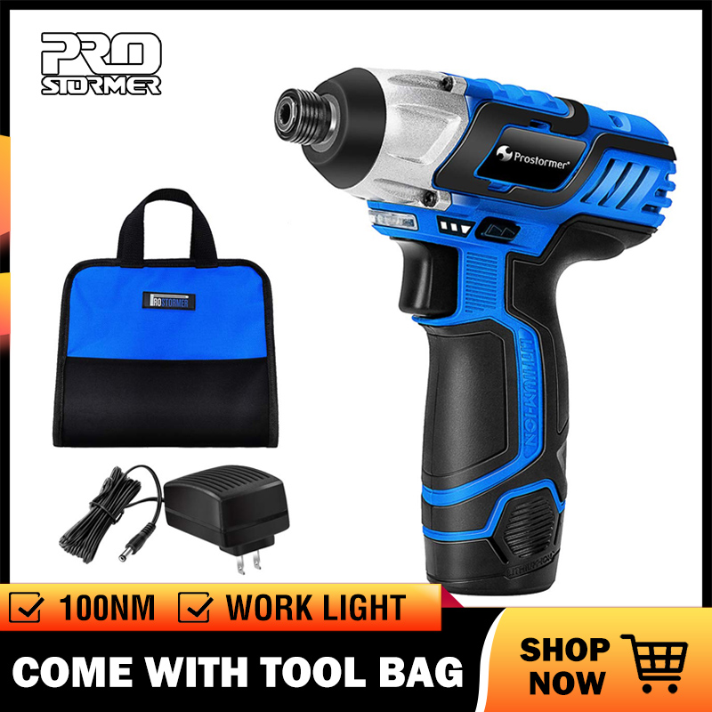 PROSTORMER 12V Electric Screwdriver Rechargeable Cordless Drill 2000mAh Battery 1 4inch Power Tools Drill Machine with