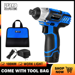 PROSTORMER 12V Electric Screwdriver Rechargeable Cordless Drill 2000mAh Battery 1/4inch Power Tools Drill Machine with Tool Bag