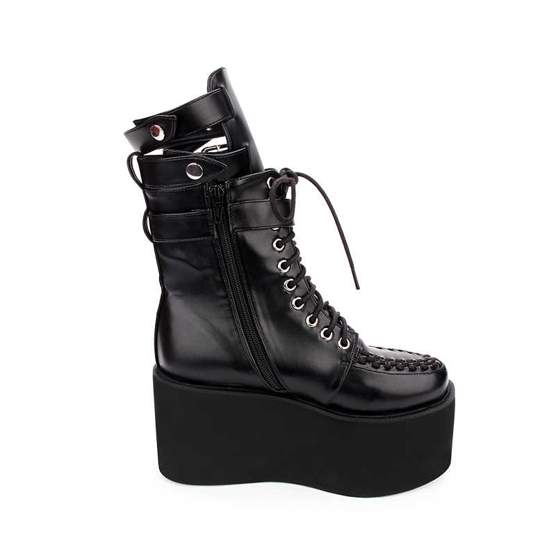 Thời trang Mùa Xuân Nữ Giày Cao Gót Giày Đế Đậm Gothic Cổ Ngắn Tăng Đại Học Mới Pơ Mu Giày Nữ Đáy Dày Punk Giày
