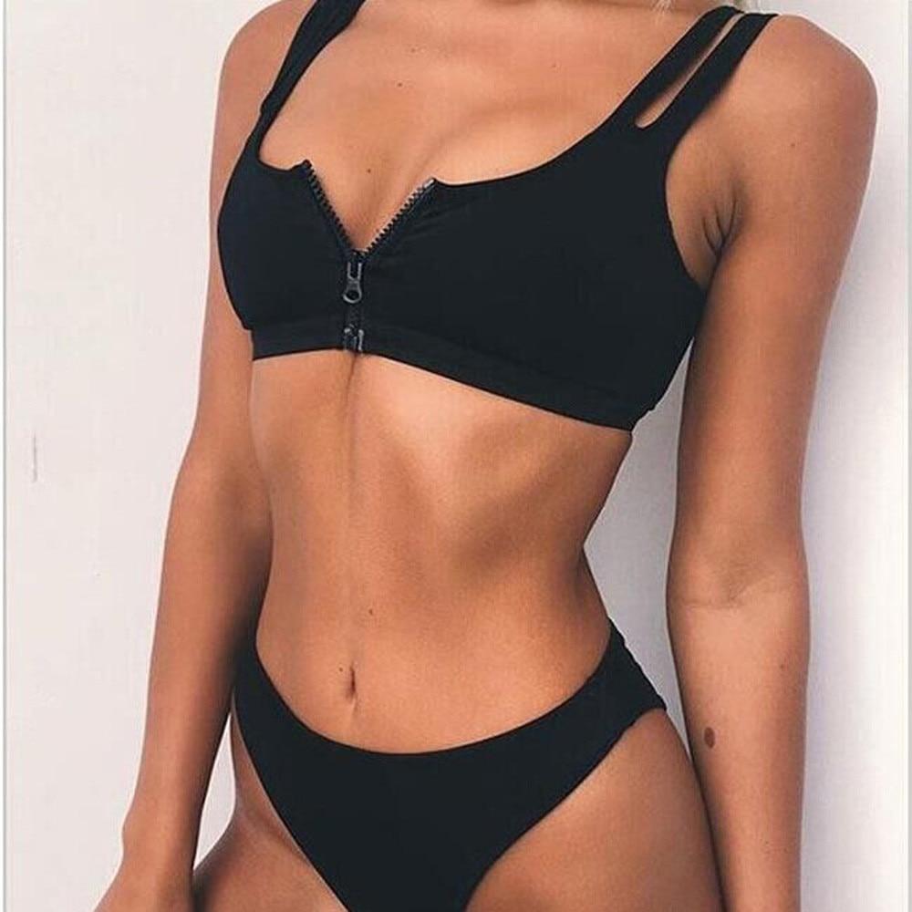 ZIPPER NEW Halter Swimsuit Women Flannel Bikini Set Solid Beach Bandage Swimwear SPORT SUMMER Set Secret Sex Bath Top