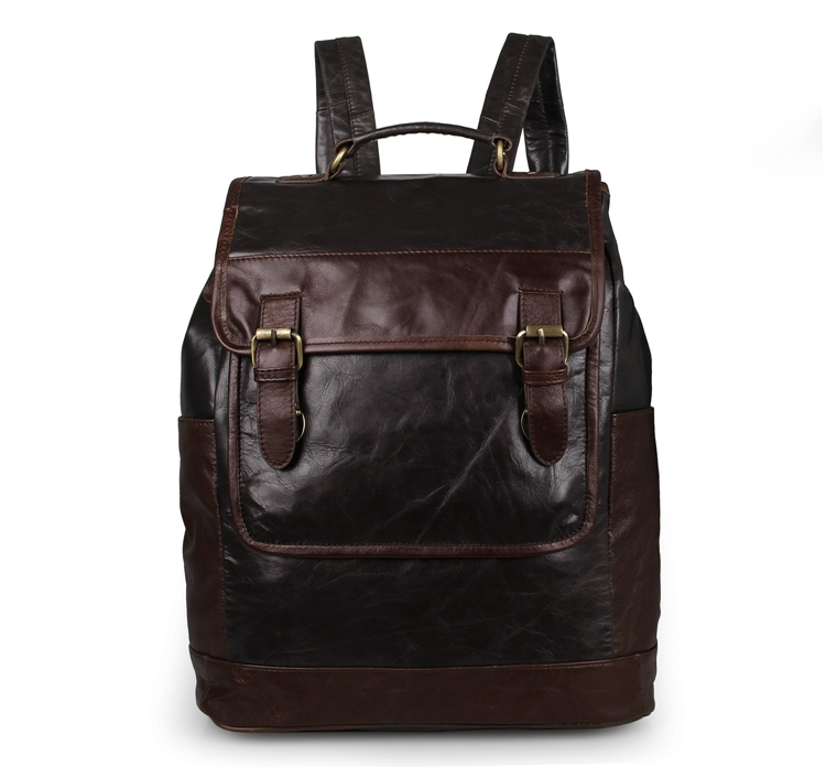 Colored Cow Leather Men's Laptop Backpack Grey+Coffee Vintage Knapsack 7305J груша скоростная cow leather everlast 4241u