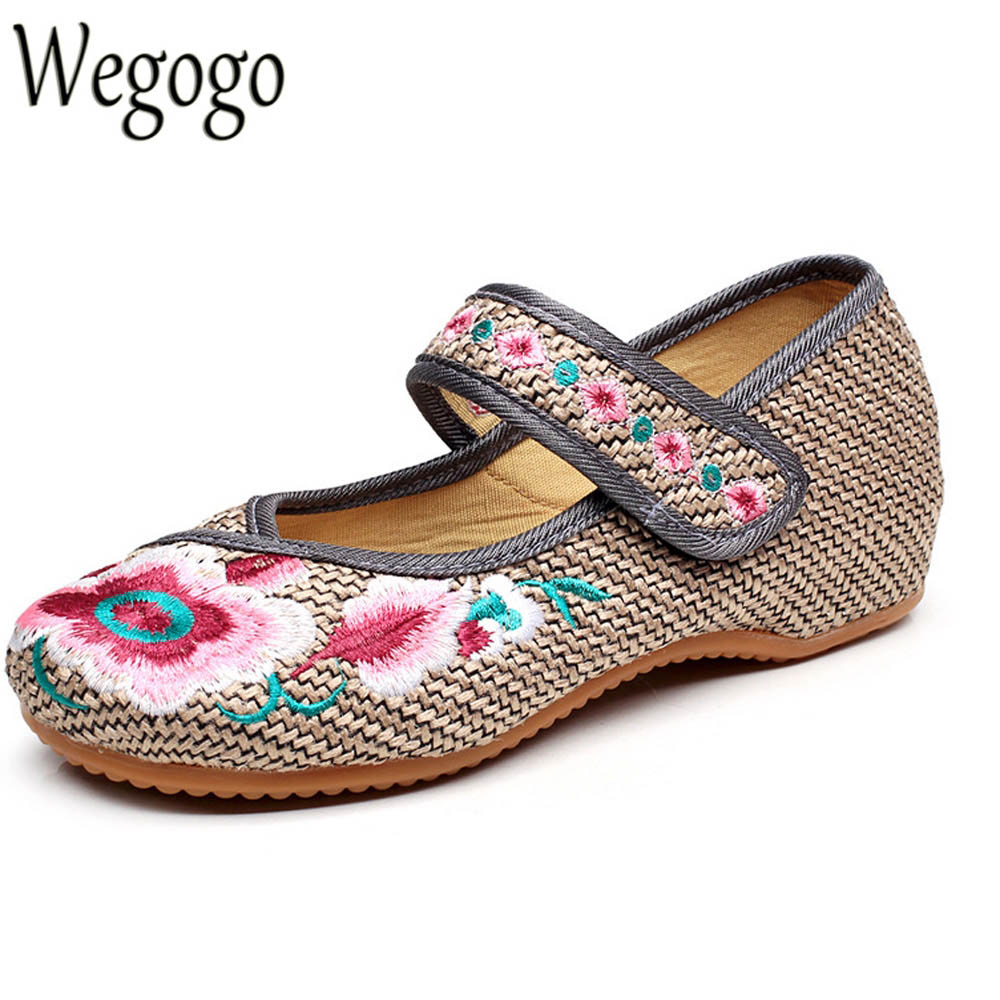 Wegogo Women Flats Shoes Embroidery Flower Shoes Old Peking Mary Jane Casual Demin Driving Dance Ballet Shoes Gray Plus Size 43 peacock embroidery women shoes old peking mary jane flat heel denim flats soft sole women dance casual shoes height increase