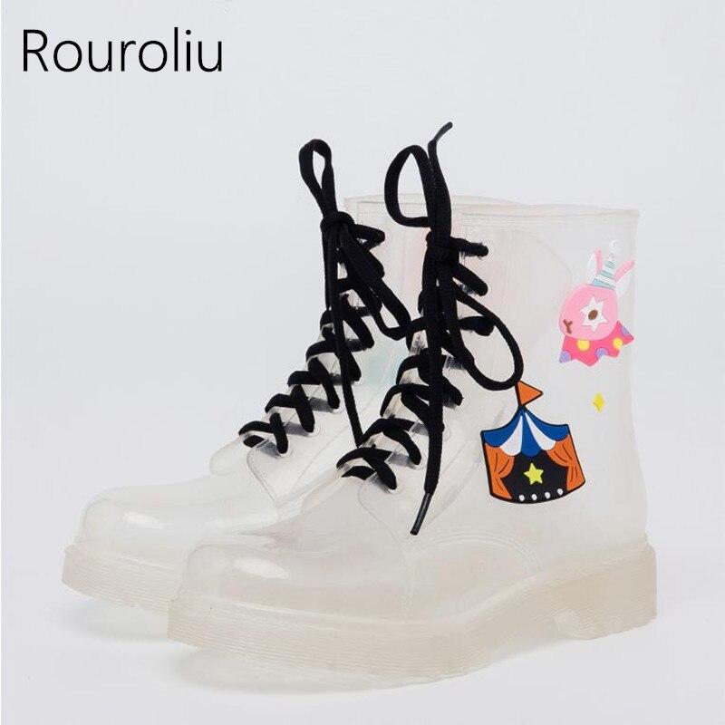 Rouroliu ручная роспись дождь Сапоги и ботинки для девочек Для женщин милые прозрачные водонепроницаемые туфли резиновые сапоги Кружево-Up муль...