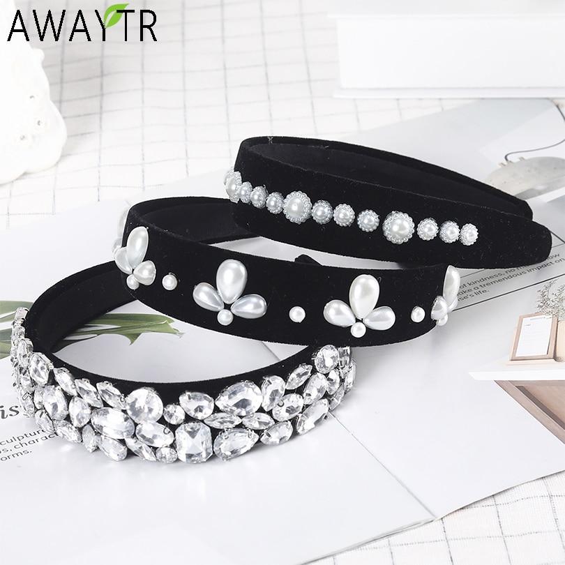 AWAYTR Baroque Headbands Pearl Crown  For Women Tiara Hair Accessories For Girls Retro Velvet Hair Bands Hoop Hair Bows