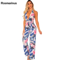 Bohemian Summer Sexy Jumpsuit 2018 Women Halter Deep V Neck Backless Sexy Jumpsuit Clubwear Floral Print Wide Leg Beach Rompers
