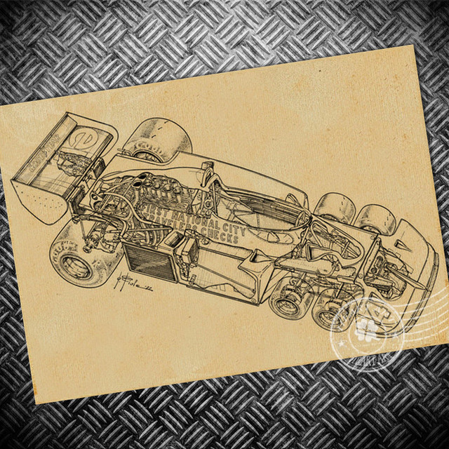 Vintage F1 Car Chart poster classic Paint craft Paper Poster Retro ...