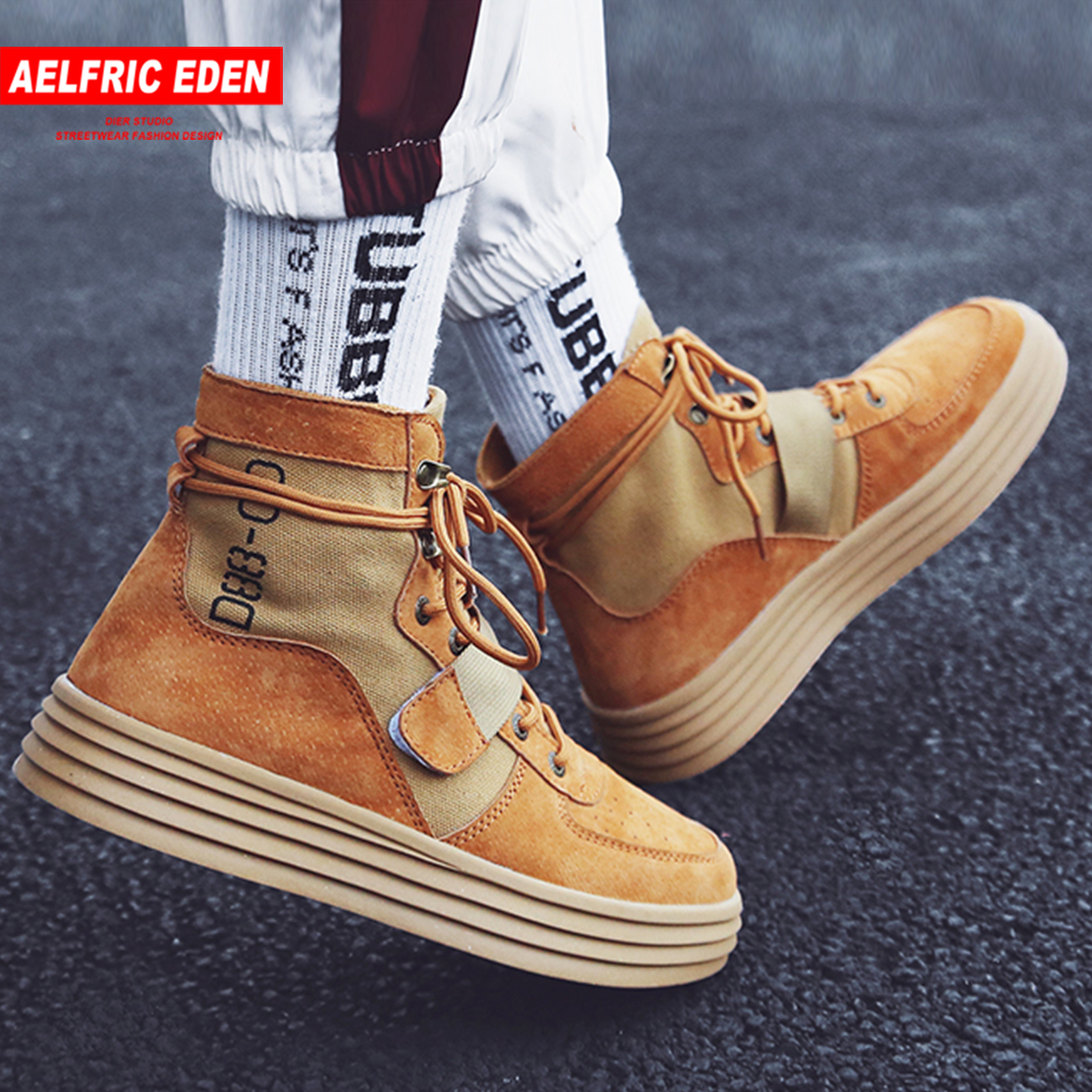 Aelfric Eden Flat Platform Ankle Boots 2019 Spring Autumn Lace up  Elastic Band Shoes male High Fashion Motorcycle Sneakers  AE27Motorcycle boots