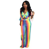 6566e357c8d03 Rainbow Striped Sexy 2 Two Piece Set Women 2018 New Ruffle Trim Crop Top  And Pant