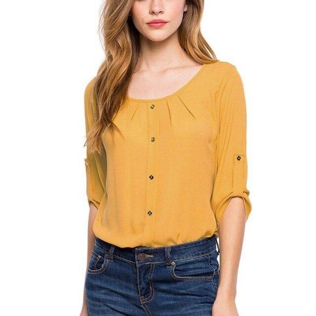 37d9302ba Mulheres Verão Blusa de Chiffon 2017 Moda Botão Casual Camisa 3 4  Comprimento Da Luva