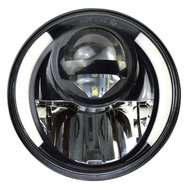 CZG730A 2017 newest model 7 led headlight 30w with white DRL amber angel eye 7 inch round headlamp hi/lo beam for jeep wrangler turbo sii 7 inch 78w round led headlight motorcycle projector angle eye black hi lo beam drl amber yellow 12v 24v bike ip67