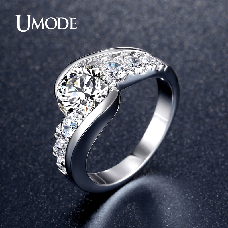umode unique white gold color cz stones vintage design bypass rings wedding engagement inlay jewelry for
