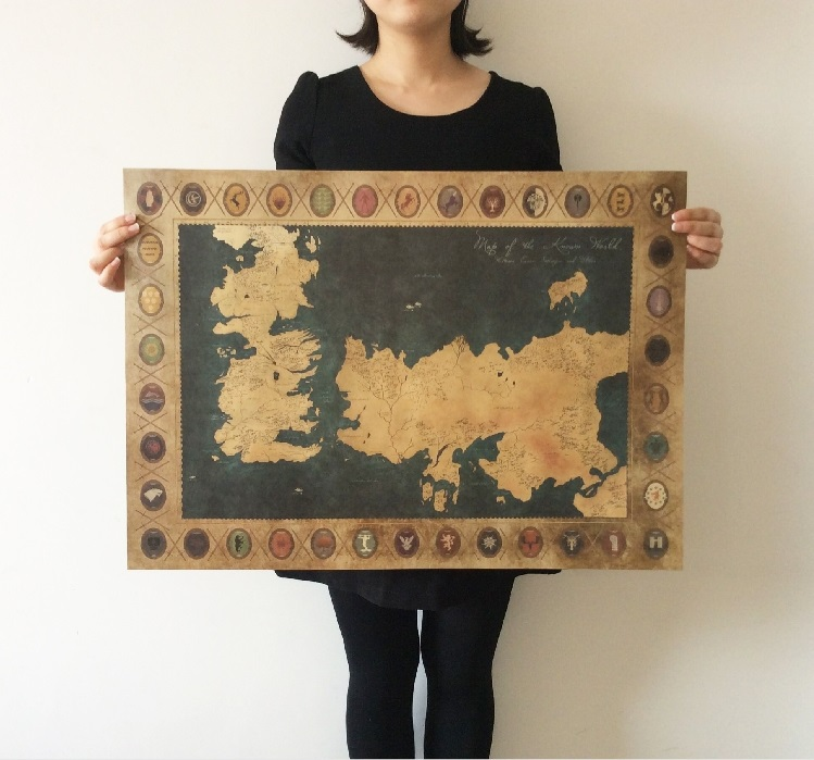 Game Of Thrones American Tv Series Old Map Vintage Paper Poster Bar Pub Home Wall Decor
