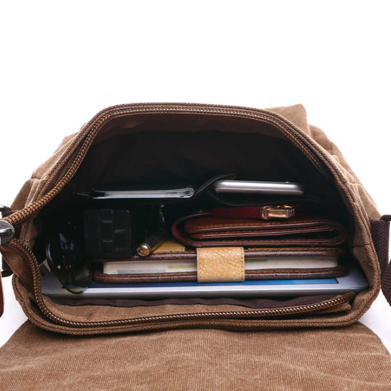 Scione Pria Bisnis Messenger Tas Selempang Bahu Tas Kanvas Selempang Pack Retro Kasual Kantor Perjalanan Tas