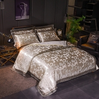 Wedding Luxury Bedding Sets Jacquard Queen/King Size Duvet Cover Set Bed Linen bed sheet Modal jacquard lace Beige