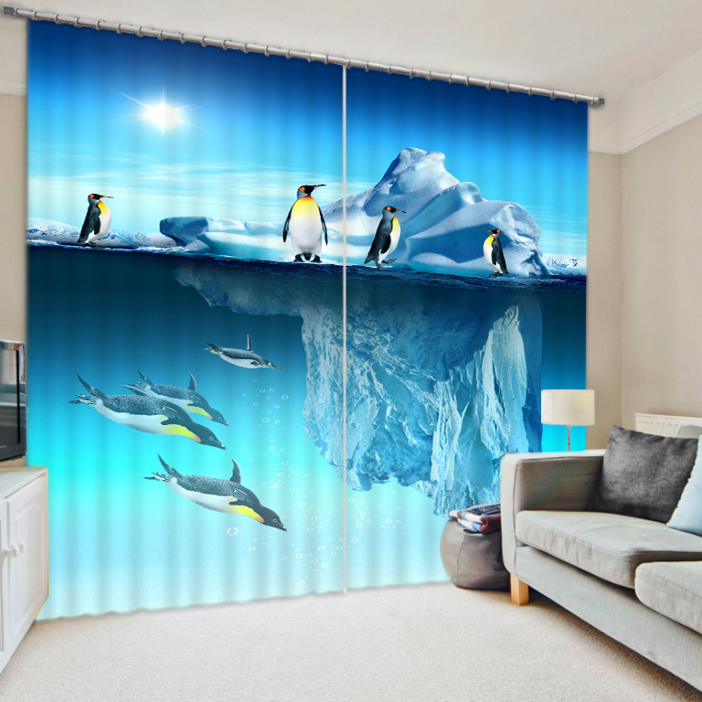 Curtains For Kids Boy Room Knight Horse Window Bedroom: Modern Fantasy Penguin Iceberg 3D Photo Shade Blackout