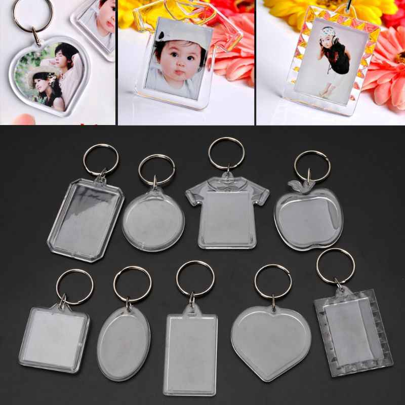 JAVRICK 10Pcs Picture Blank Keyrings Transparent Acrylic Key Chains Insert Your Photo Picture Frame Keyring DIY Split Ring Gift