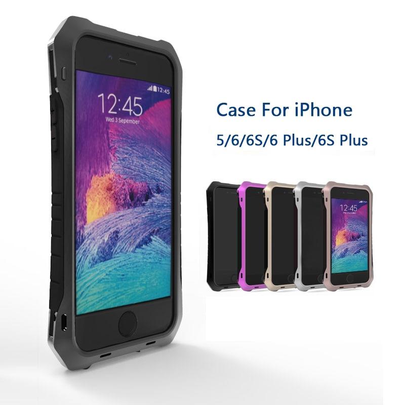 imágenes para Choque de Tierra A Prueba de Mal Tiempo de Vida de lujo Caso de la Cubierta de aleación de Metal Gorilla Glass Para Apple iPhone 5/5S 6/6 s 6 Más 5.5''