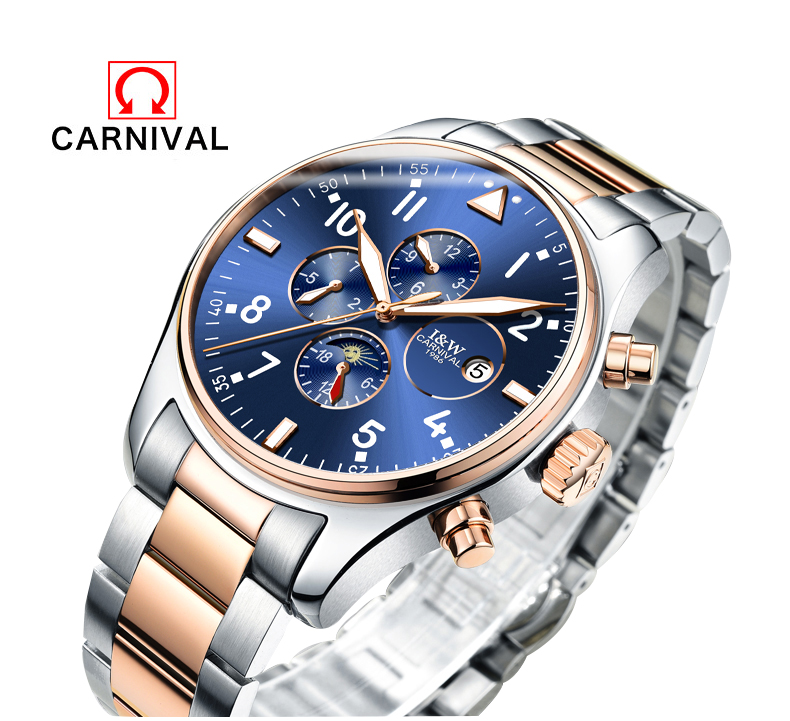 Carnival Famous Brand Watch Luxury Men Automatic Mechanical Watches Blue Dial Stainless Steel Rose Gold Strap relogio masculino