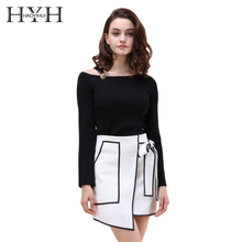 HYH HAOYIHUI Fashion Women Sweater Solid Black Asymmetric O-neck Cold Shoulder Full Sleeve Lady Tops Belt Button Pullovers cold shoulder asymmetric tee