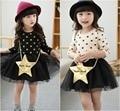 EMS DHL free shipping Spring Autumn New girl Princess Dress Star Long Sleeve tutu Dress Casual Dress with Gold Purse