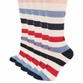 RioRiva 5pairs/Lot Women Size US 9-11/EU 41-42 Big Stripes Short Socks Mid-calf Colorful Women's Socks Cotton Sox 2017 Hot