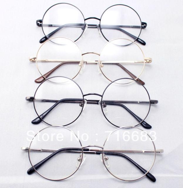 845d8d368d 46mm Size 4 pieces Lot Spring Hinge Retro Vintage Harry Potter Style Round  Eyeglass Frames Black Gold Silver Gun Grey Optical RX