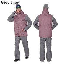 Gsou Snow Ski Suit Ski Jacket Men Snowboard Jacket and Pant Waterproof Mountain Skiing Suit Outdoor Sport Ski Wear