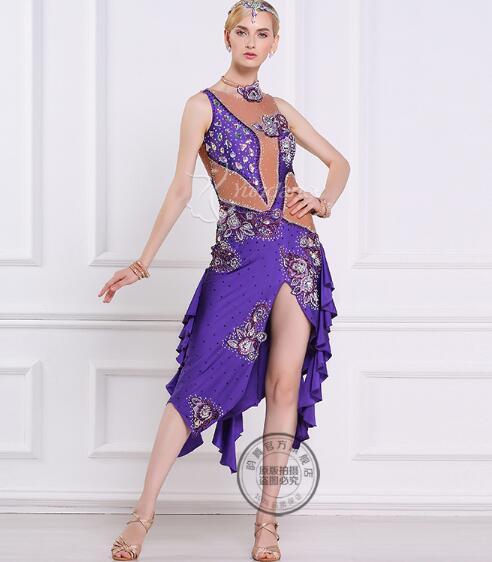 rhinestone light purple customize custom back cutout Rumba cha cha salsa  tango Latin dance competition dress e6f6e9e633ab