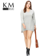 цена на Kissmilk Plus Size Fashion Women Clothing Casual Solid Loose Pullover Asymmetrical Hem Sweater Long O-Neck Long Sleeve Sweater