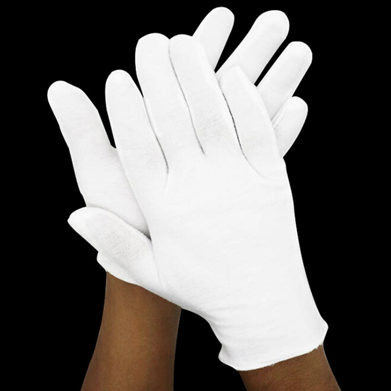 6 Pairs White Gloves Cotton Soft Thin Coin Jewelry Silver Inspection Work Gloves