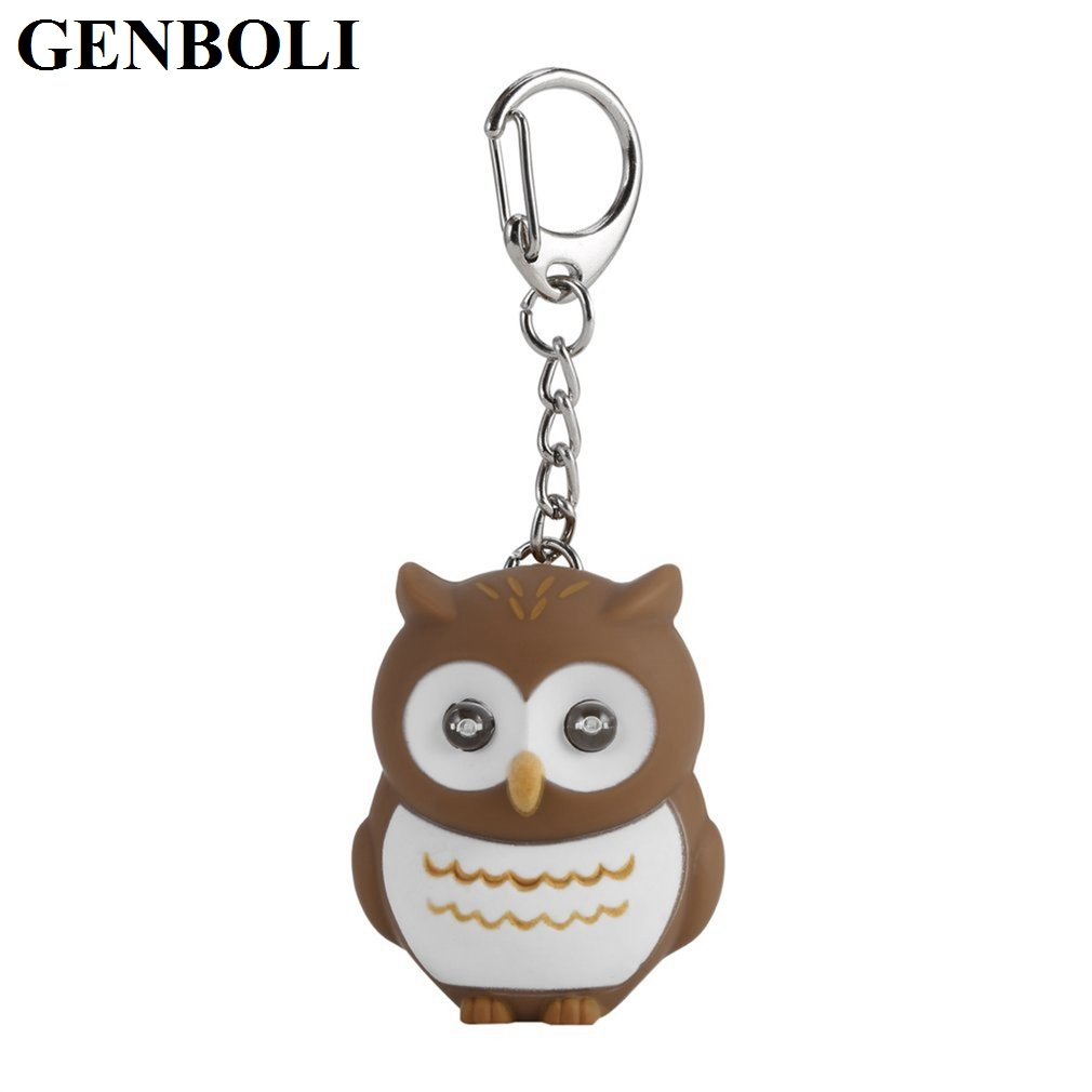 Hot! Mini Cute Owl Key Rings With Sound LED Lighting Unique Design Fashion Beautiful Souvenir Lovely Key Chains Accessory