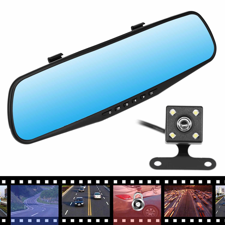 4 3 gps двойной объектив камеры зеркало заднего вида HD Автомобильный