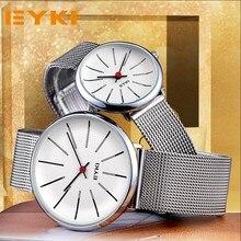 EYKI Пара Ткань Мех ремешок часы классические простые Миланского Нержавеющаясталь Для мужчин Для женщин Бизнес часы Японии двигаться Для мужчин t с коробкой