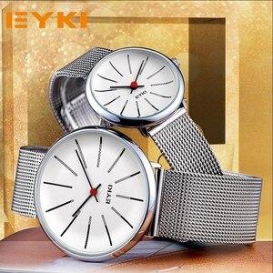 EYKI para splot Mech pasek zegarki klasyczny prosty Milanese stal nierdzewna mężczyzna kobiet zegarek biznesowy japonia ruch z pudełkiem